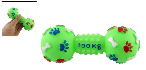 Green Dumbbell Shape Plastic Squeaky Chew Toy for Doggy