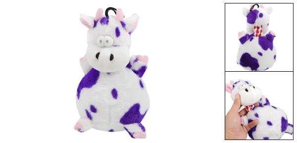 Stuffed Purple Pattern Plush Squeaky Cow Doll Gift Toy for Pet Dog