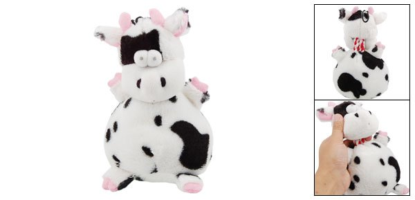 Black Speckle Sponge Stuff Plush Squeaky Cow Toy Doll for Pet Dog