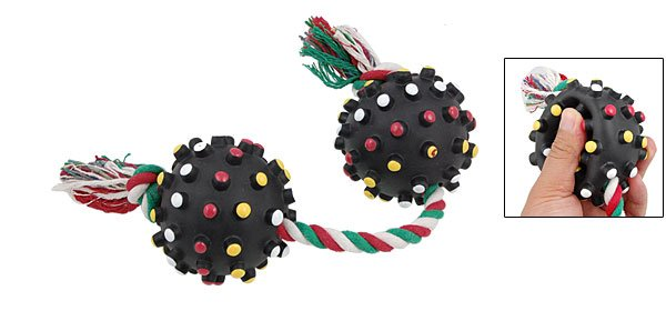 Braided Rope w 2 Black Balls Pet Dog Squeaky Tug Chew Toy