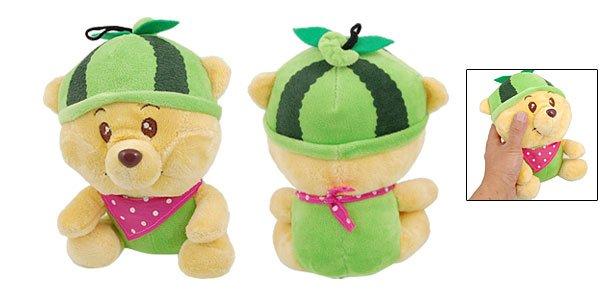 Sponge Filled Green Watermelon Hat Plush Bear Gift Pet Dog Toy Doll
