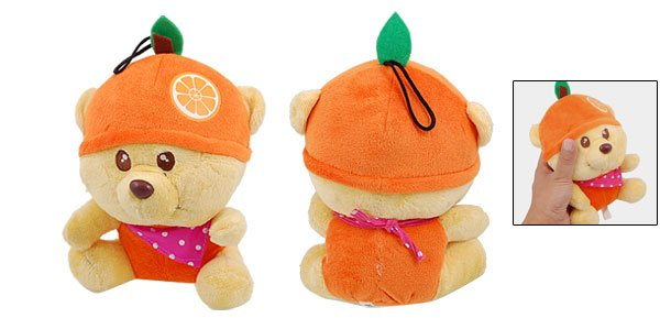 Sponge Stuffing Orange Hat Design Plush Bear Pet Toy Doll for Puppy Dog