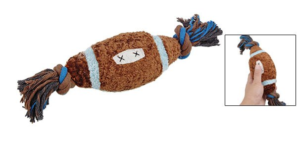 Brown Thick Plush Football W Rope Pet Toy Squeaky Ball for Puppy Dog