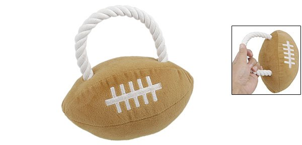 Rope Design Brown Plush Squeaky American Football Pet Toy for Puppy Dog
