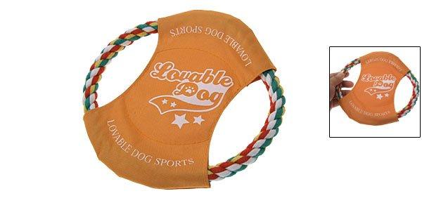 Orange Cotton Rope Disc Frisbee Toy for Dog Pet