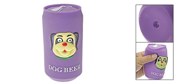 Purple Vinyl Plastic Beer Can Type Dog Pet Squeaky Chew Toy