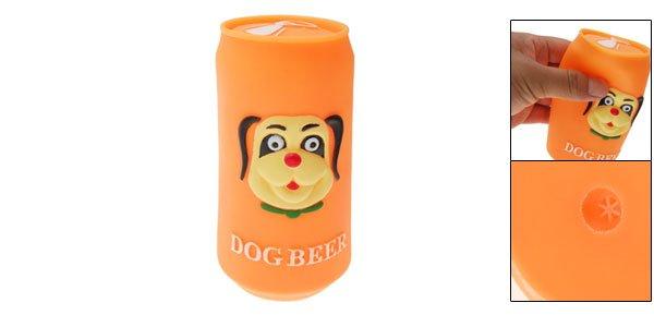 Orange Vinyl Plastic Beer Can Pet Cat & Dog Squeaky Chew Toy