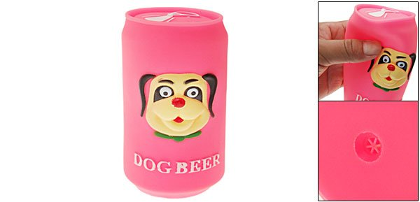 Hot Pink Vinyl Plastic Beer Can Pet Dog Soft Squeaky Chew Toy