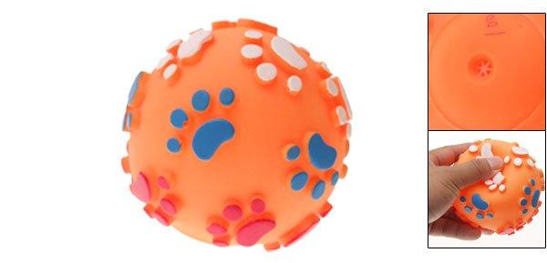 Orange Pet Dog Puppy Chew Squeak Squeaky Ball Toy