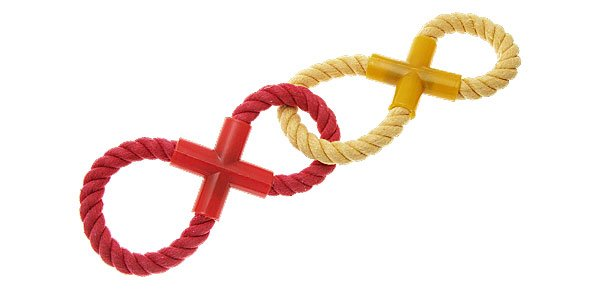 Dog Pet Red Yellow Dual Eight Rope Chew Play Toy New
