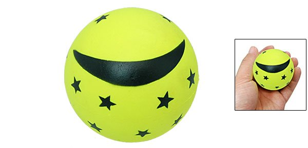 Star Moon Pattern Mini Children's Bouncing Ball Toy Yellow Green