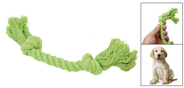 Green 8 Inch Dog Cotton Braided Chew Rope Knot Tug Toy