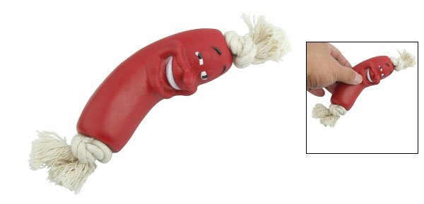 Red Pet Dog Vinyl Sausage Chew Toys with Rope
