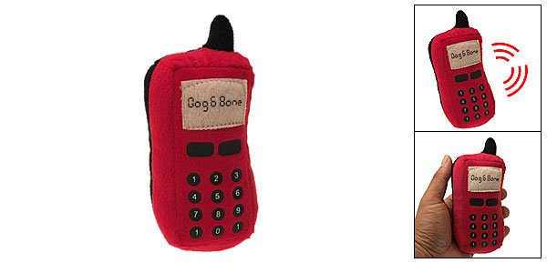 Red Puppy Dog Toy Plush Stuffed Pet Mobile Cell Phone Rings