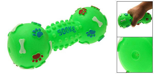 Green Dumbbell Pattern Vinyl Pet Dog Cat Squeak Squeaky Toy