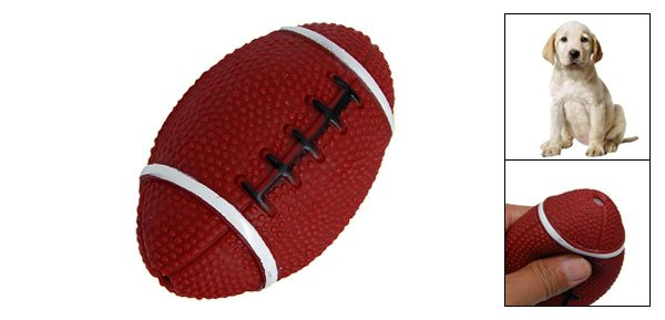 Small Rubber Squeaky Rugby Ball Funny Dog Chew Toy
