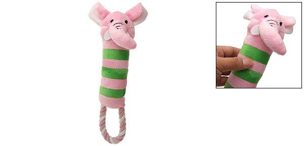 "Dog Puppy Pet Toy Plush Loofa Squeaky Elephant with Tug Rope 11"""