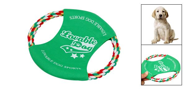 Green Cotton Rope Dog Puppy Doggle Doggie Frisbee Flyer Toy