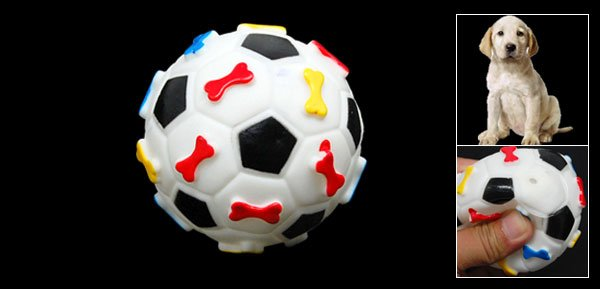 Football Pattern Squeaky Squeak Ball Pet Dog Chew Play Toy