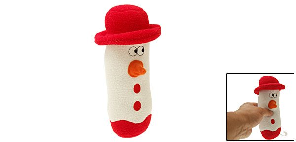 Loofa Snowman Xmas Holiday Plush Dog Pet Puppy Squeaky Toy L24cm