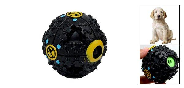 Black Hard Plastic Ball Pattern Dog Pet Puppy Doggle Chew Toy w/ Quack Sound