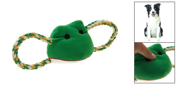 Plush Frog Pattern Squeaky Squeaker Toy w/ Tug Rope for Pet Dog
