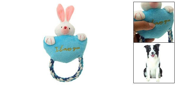 Pet Dog Puppy Plush Rabbit Pattern Squeaky Squeaker Toy with Tug Rope