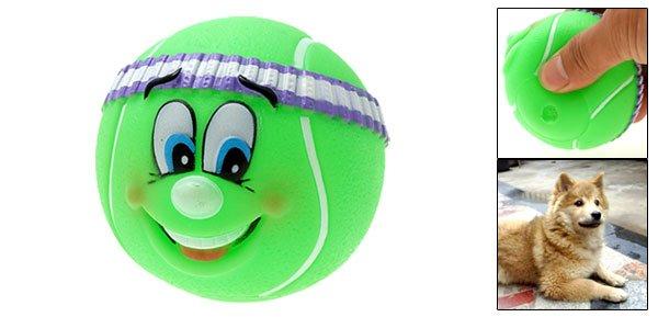 Tennis Ball Pattern Vinyl Squeaker Fetch Chew Dog Puppy Toy