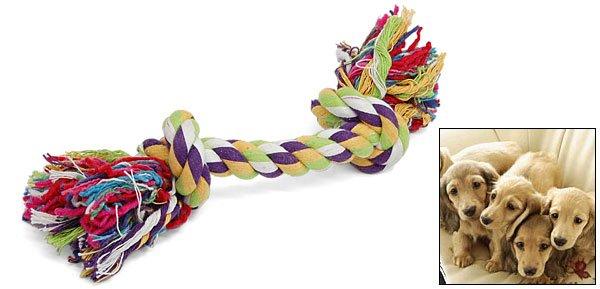 9 Inch Pet Dog Bone Chew Cotton Braided Rope Knot Tug Toy