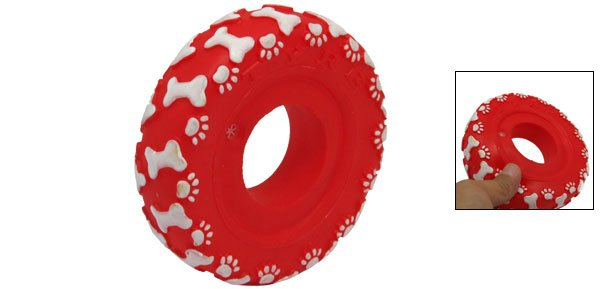 Red Vinyl Plastic Ring Pet Cat & Dog Squeaky Chew Toy