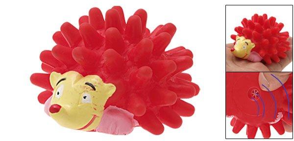 Squeaker Red Vinyl Hedgehog Pattern Pet Dog & Cat Toy