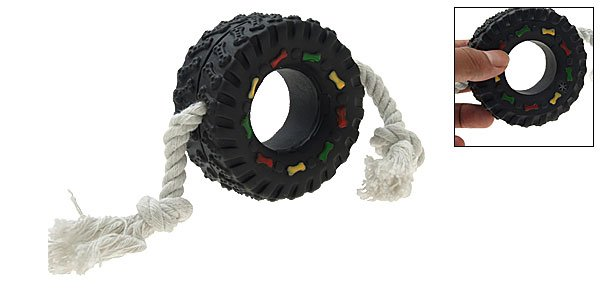 Squeaky Tyre Shaped Rope Tug Toy for Dogs and Puppies