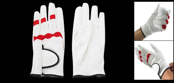Ladies Left Hand All Weather Golf Glove Size L (MMC) White & Red