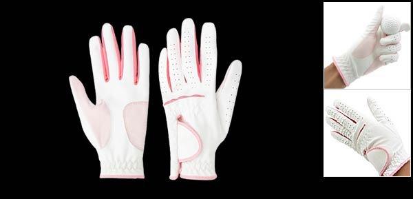 Ladies Left Hand All Weather Golf Glove Size M (LPP-04) White & Pink