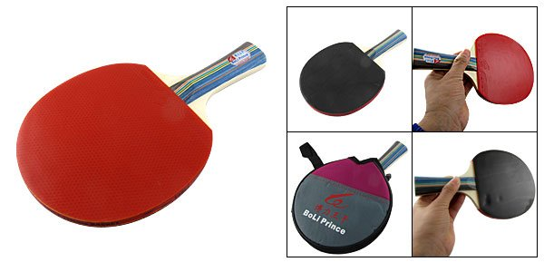Red Black Wooden Handle Table Tennis Racket Paddle w Case