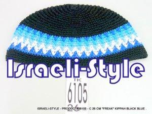"""06105 - CLOTH 26 CM """"FREAK"""" KIPA BLACK & BLUE  YARMULKE"""