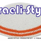 "11077   SET OF 5 CLOTH ""FREAK KIPA"" 2 ORANGE LINES DESIGN YARMULKE"
