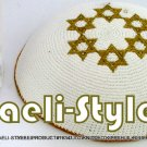 free shipping!! LOT OF 5 PCS, 15237 - C KNITTED KIPPAH WHITE 6 GOLD M.