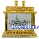 "05688 -SILVER PLATED GOLD MENORAH DELUXE ""HAMIKDASH"""