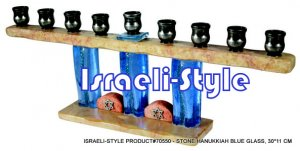 70550 - STONE MENORAH / HANUKKIAH BLUE GLASS, 30*11 CM