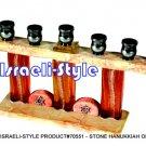 70551 - STONE MENORAH / HANUKKIAH ORANGE GLASS, 30*11 CM