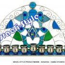 83696 - MENORAH / HANUKKIA - HAMSA STAINED GLASS 27*14