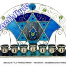 83697 -MENORA /  HANUKKIA - MAGEN DAVID STAINED GLASS 27*14