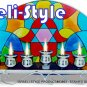 83893 - STAINED GLASS MENORAH / HANUKIAH - HAMSA