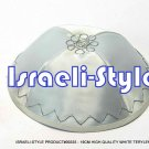 00335- LOT OF 10, HIGH QUALITY WHITE TERYLENE KIPA / KIPPAH / YARMULKE / YAMAKA / KIPPA