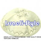 00346- LOT OF 10, HIGH QUALITY BEIGE TERYLENE KIPA / KIPPAH / YARMULKE / YAMAKA / KIPPA