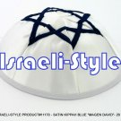 "11170- WholeSale LOT,SATIN KIPPAH BLUE ""MAGEN DAVID""- 20 CM KIPA  / YARMULKE / YAMAKA / KIPPA"