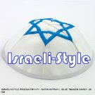 "11171- LOT OF 5,  SATIN KIPPAH L. BLUE ""MAGEN DAVID""- 20 CM KIPA  / YARMULKE / YAMAKA / KIPPA"