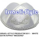 "13511- LOT OF 10,  WHITE SATIN KIPPAH ""WEDDING"" KIPA  / YARMULKE / YAMAKA / KIPPA"