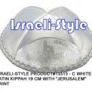 """13513- LOT OF 10,  WHITE SATIN KIPPAH """"JERUSALEM""""/ KIPA  / YARMULKE / YAMAKA / KIPPA"""